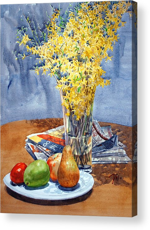 Watercolor Still Life Acrylic Print featuring the painting February Forthysia by Peter Sit