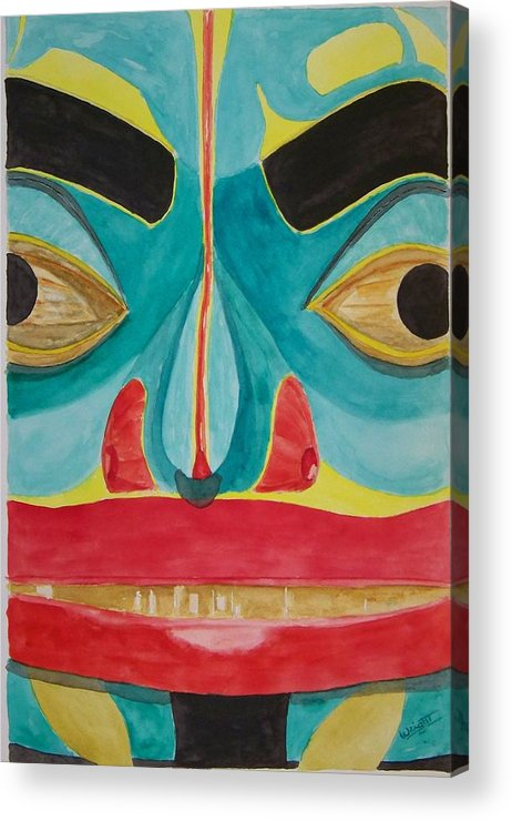 Alaska Totem Acrylic Print featuring the painting Fish Man by Larry Wright