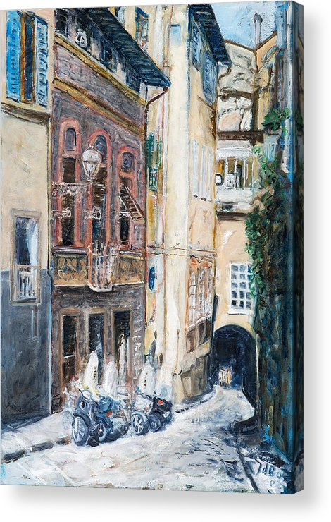 Cityscape Italy Florence Scooters Allyway Acrylic Print featuring the painting Florence Archway by Joan De Bot
