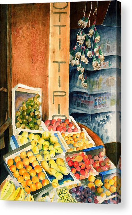 Fruit Shop Window Acrylic Print featuring the painting Fruit Shop in San Gimignano by Judy Swerlick