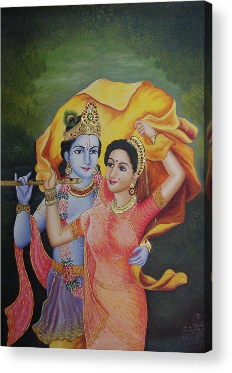 Goddess God Radha Krishna Combination Of Love Online Artwork Oil Painting On Canvas Acrylic Print By B K Mitra