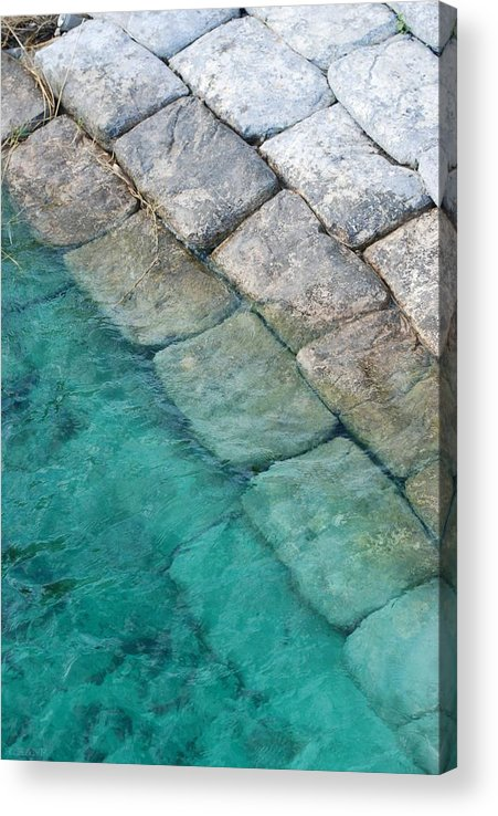 Water Blocks Bricks Acrylic Print featuring the photograph Green Water Blocks by Rob Hans