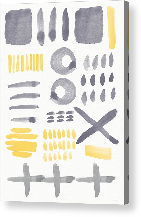 Grey And Yellow Acrylic Print featuring the painting Grey and Yellow Shapes- abstract painting by Linda Woods