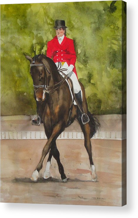 Horse Acrylic Print featuring the painting Half-Pass To The Right by Jean Blackmer