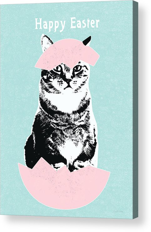 Cat Acrylic Print featuring the digital art Happy Easter Cat- art by Linda Woods by Linda Woods