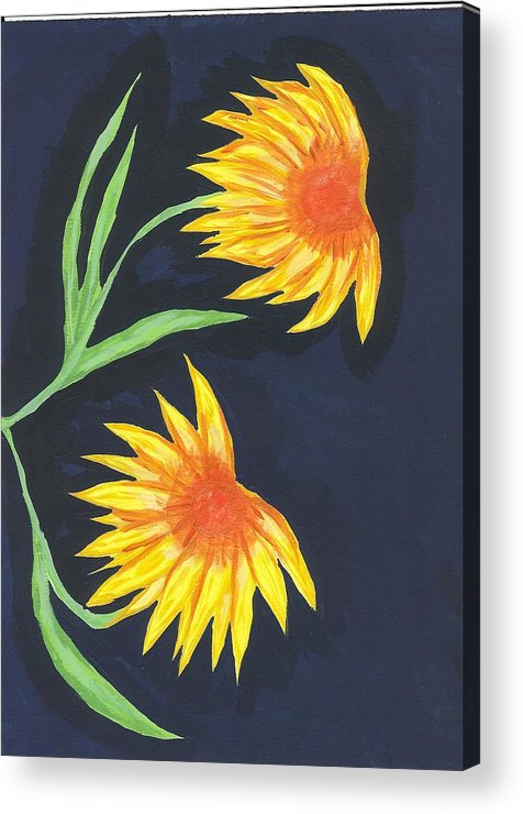 Flower Acrylic Print featuring the painting Here Comes The Sun by Laura Lillo