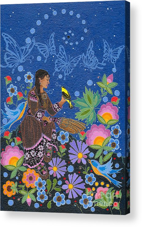 Native Women Acrylic Print featuring the painting Hole In the Sky's Daughter by Chholing Taha