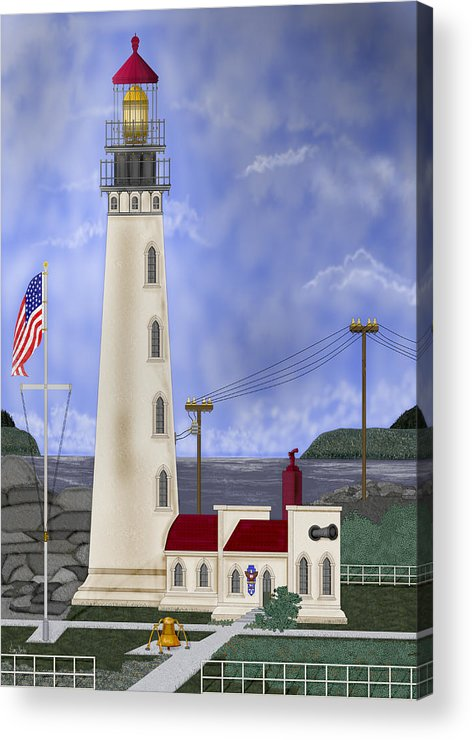 Lighthouse Acrylic Print featuring the painting Home Port by Anne Norskog