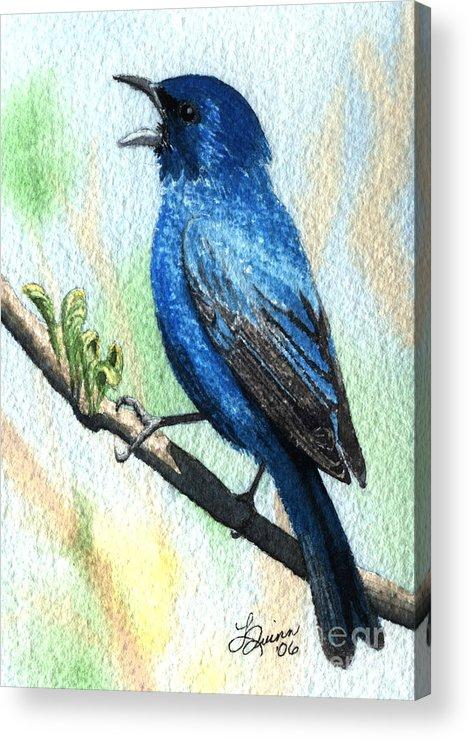 Bird Acrylic Print featuring the painting Indigo Bunting by Lynn Quinn