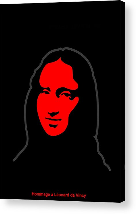 Mona Lisa Acrylic Print featuring the digital art Inspired by Mona Lisa - Hommage a Leonardo da Vincy by Asbjorn Lonvig