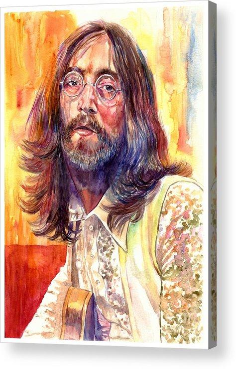 John Lennon Acrylic Print featuring the painting John Lennon watercolor by Suzann Sines