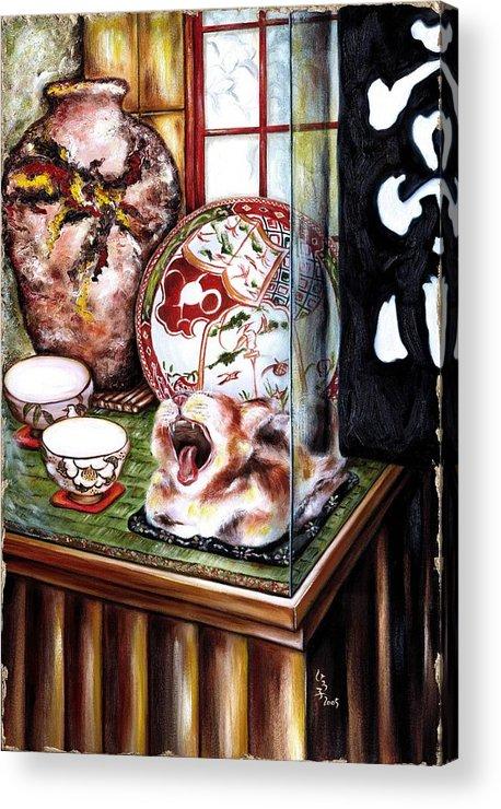 Cat Acrylic Print featuring the painting Life is Beautiful by Hiroko Sakai