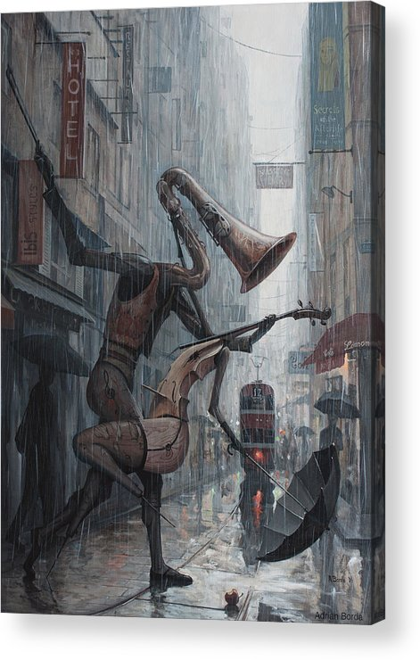 Life Acrylic Print featuring the painting Life is dance in the rain by Adrian Borda