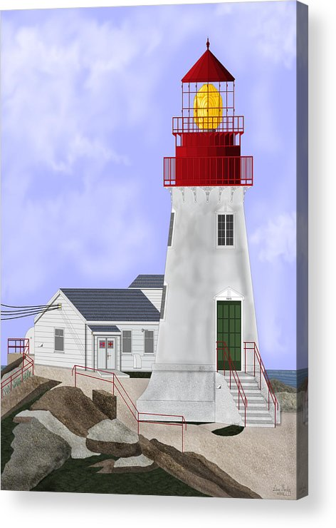 Lighthouse Acrylic Print featuring the painting Lindesnes Norway Lighthouse by Anne Norskog