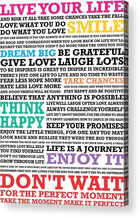 Live Your Life And Risk It All Take Some Chances Take The Fall Love Inspirational Quotes Poster Acrylic Print By Lab No 4