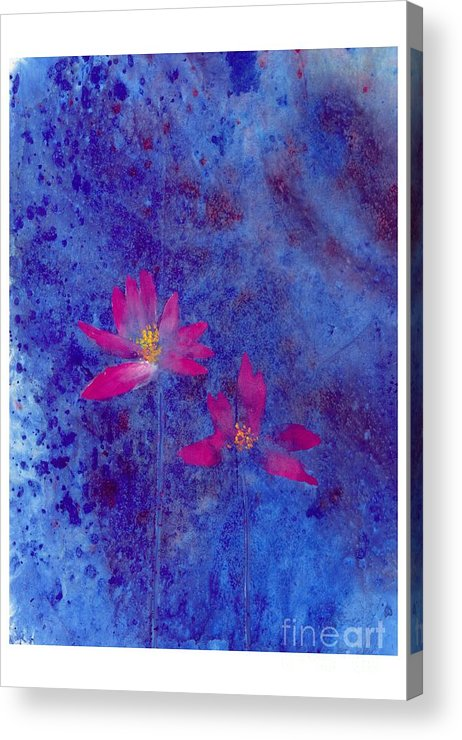 Free Style Lotus Flowers In Dreamy Blue Background. This Is A Contemporary Chinese Ink And Color On Rice Paper Painting With Simple Zen Style Brush Strokes.  Acrylic Print featuring the painting Lotus II by Mui-Joo Wee
