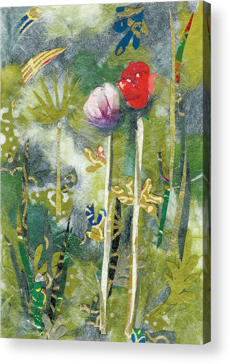 Pair Of Flowers Acrylic Print featuring the painting Lovers by Nira Schwartz