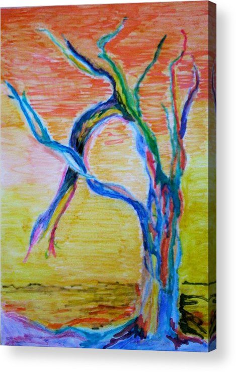 Abstract Painting Acrylic Print featuring the painting Magical Tree by Suzanne Udell Levinger
