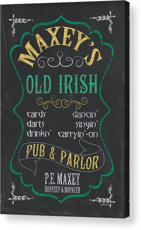 Beer Acrylic Print featuring the mixed media Maxey's Old Irish Pub by Debbie DeWitt