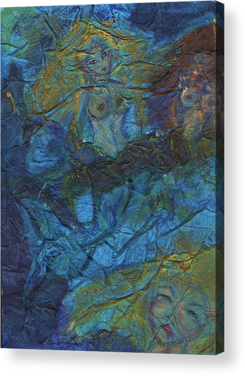 Mermaid Acrylic Print featuring the painting Mermaid Musings by Cathy Minerva