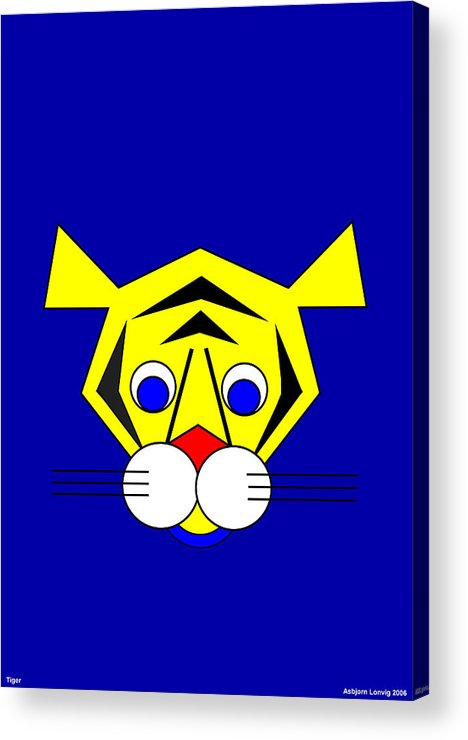 Tiger Acrylic Print featuring the digital art Mister Tiger by Asbjorn Lonvig