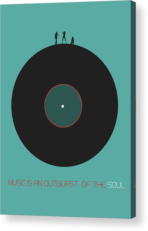 Vinyl Acrylic Print featuring the digital art Music is an outburst of the soul Poster by Naxart Studio