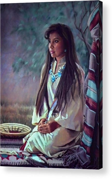 Figure Acrylic Print featuring the painting Navajo Beauty by Jean Hildebrant