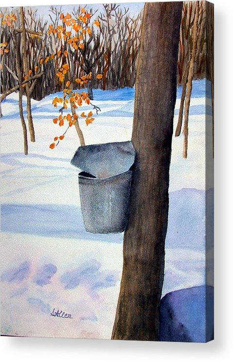 Sap Bucket. Maple Sugaring Acrylic Print featuring the painting NH Goldmine by Sharon E Allen