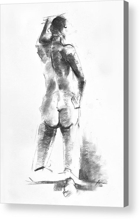 Nude Acrylic Print featuring the drawing Nude 44 by Ani Gallery