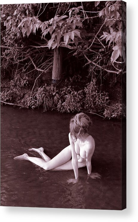 Fine Art Female Nude Figure Creek Study Naked Women Acrylic Print featuring the photograph Nude in Jack Creek by Randy Sprout