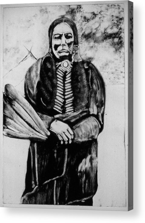 Western Art Acrylic Print featuring the drawing On Kiowa Reservation by Dan RiiS Grife