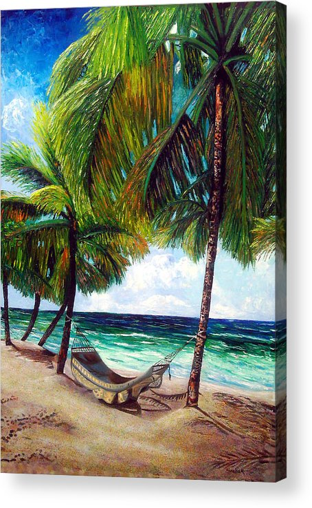 Beach Acrylic Print featuring the painting On the beach by Jose Manuel Abraham