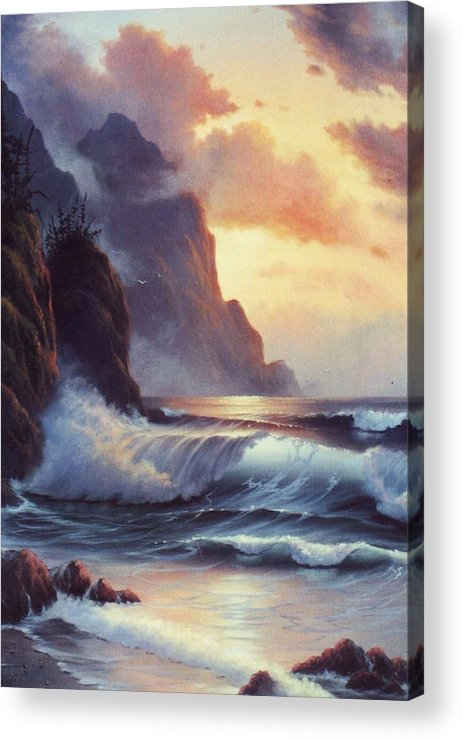 Sunset Of Oregon Coast  Seascape Acrylic Print featuring the painting Oregon Sunset by Lynne Parker
