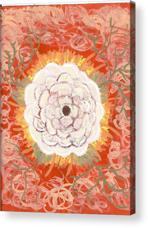 Flower Acrylic Print featuring the painting Peaches And Cream by Laura Lillo