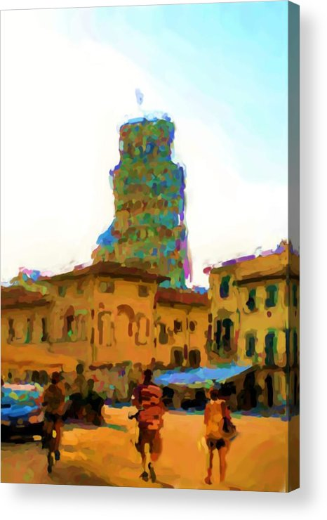 Piazza Di Duomo Acrylic Print featuring the photograph Piazza di Duomo and the Pisa Tower by Asbjorn Lonvig