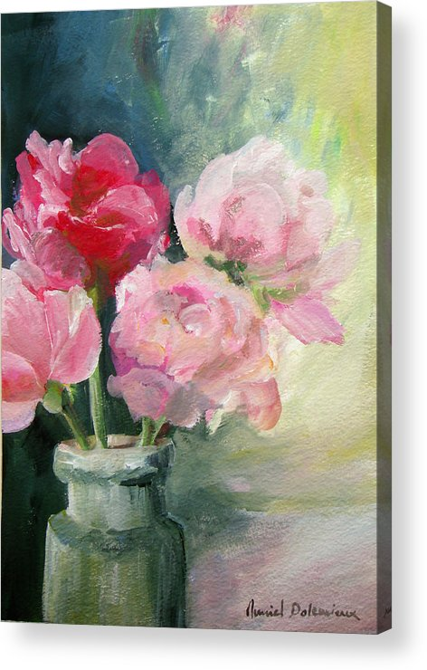 Floral Painting Acrylic Print featuring the painting Pivoines Tricolores by Muriel Dolemieux
