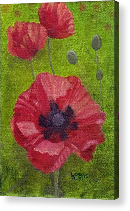 Flowers Acrylic Print featuring the painting Poppies by Laurel Ellis