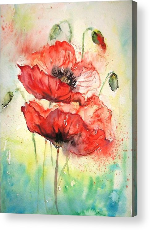 Red Poppy Acrylic Print featuring the painting Poppies by Natalja Picugina