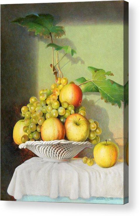 Giuseppe Mariotti Acrylic Print featuring the painting Porcelain Fruit Bowl by Giuseppe Mariotti