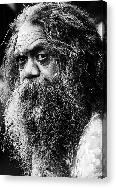 Aborigine Aboriginal Australian Acrylic Print featuring the photograph Portrait of an Australian aborigine by Sheila Smart Fine Art Photography