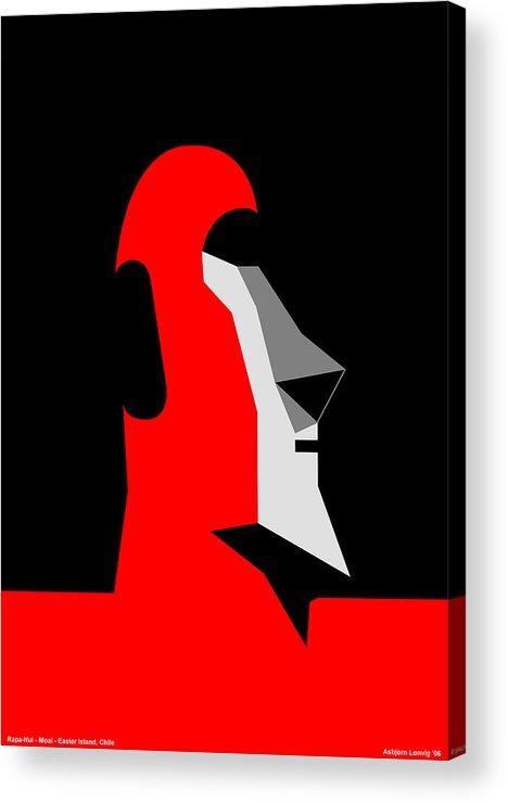 Acrylic Print featuring the digital art RapaNui Moai by Asbjorn Lonvig
