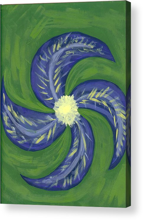 Flower Acrylic Print featuring the painting Round And Round by Laura Lillo