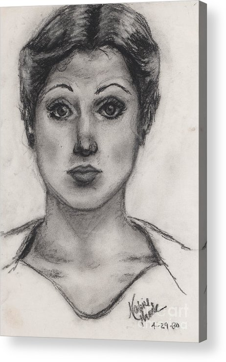 Nadine Acrylic Print featuring the drawing Self Portrait at Age 18 by Nadine Rippelmeyer