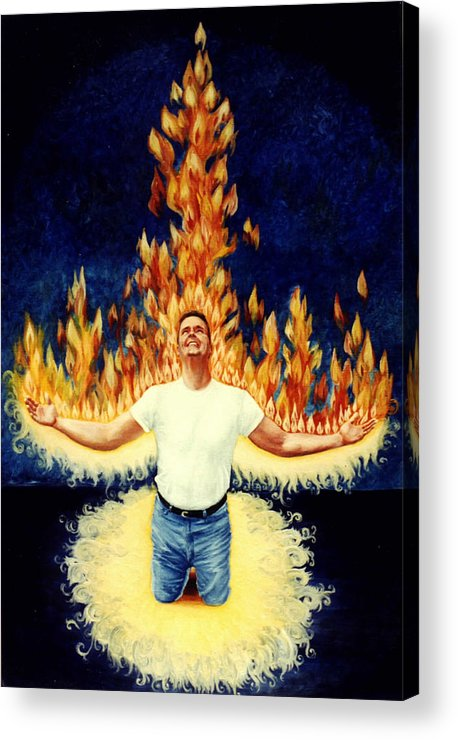 Holy Spirit Fire Acrylic Print featuring the painting Set Aflame by Teresa Carter
