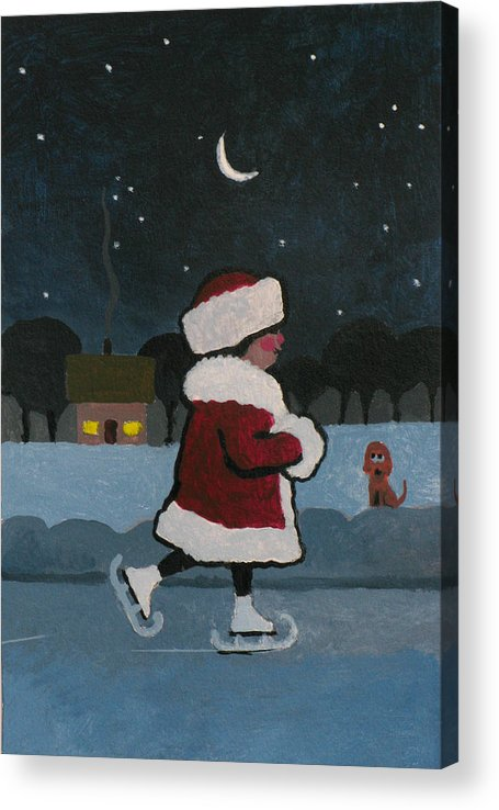 Skate Acrylic Print featuring the painting Skating at Night by Robert Bissett