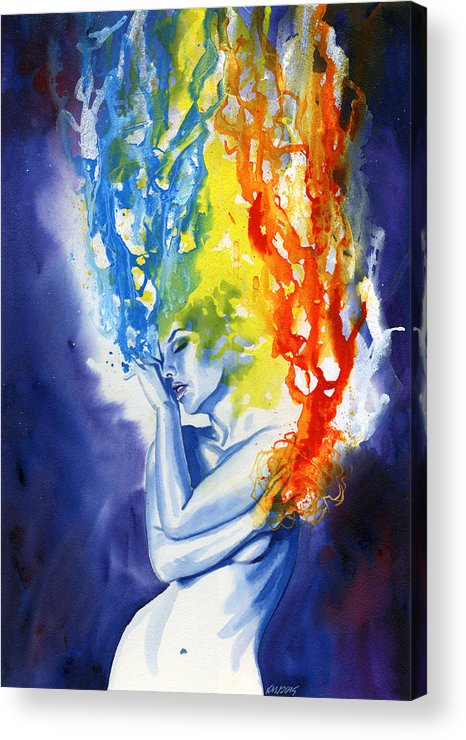 Women Acrylic Print featuring the painting Spells by Ken Meyer jr