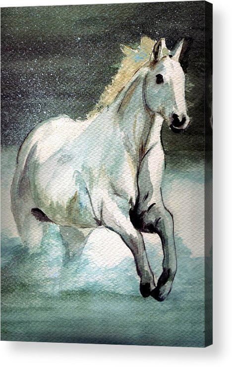 White Horse Water Running Horse Acrylic Print featuring the painting Splash by Debra Sandstrom