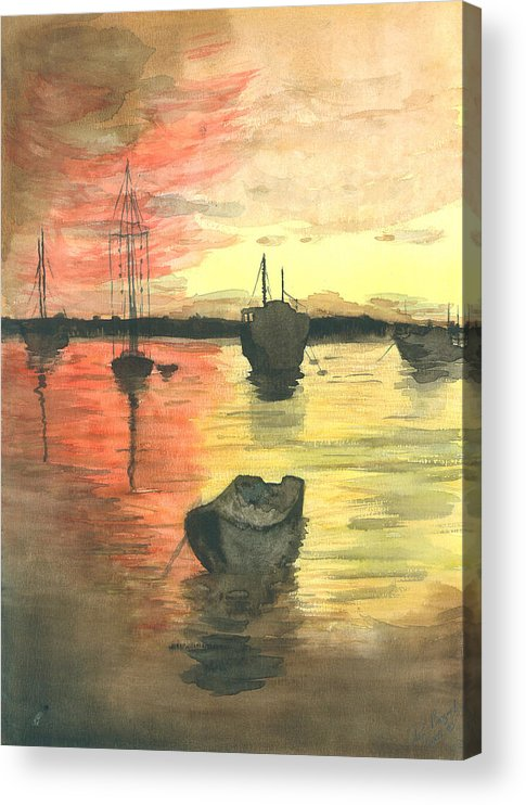 Sunset Cloudy Sky Acrylic Print featuring the painting Sunset Lagoon by Dan Bozich