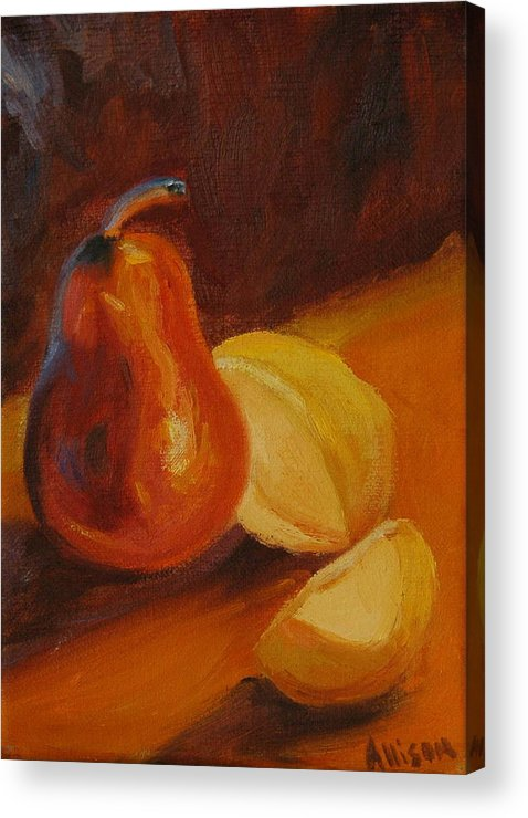 Still Life Acrylic Print featuring the painting Sunset Pears by Stephanie Allison