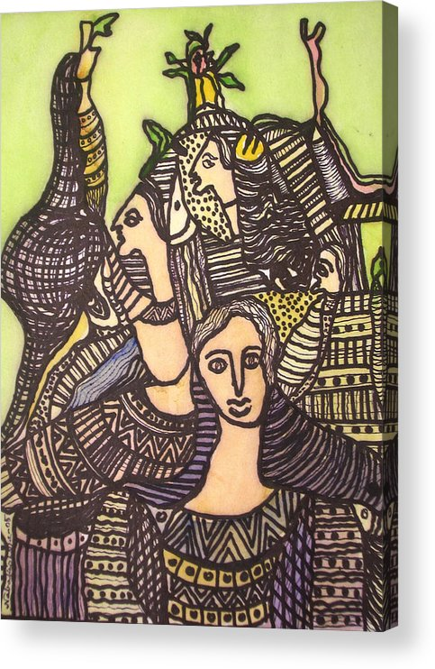 Abstract Art Acrylic Print featuring the painting Tapestry of life by Nabakishore Chanda